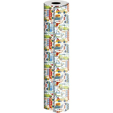 JAM Paper® Industrial Size Wrapping Paper Rolls, Boys Toys, 24
