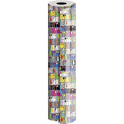 JAM Paper® Industrial Size Wrapping Paper Roll, Birthday Glitterbration, 1/2 Ream (834 Sq. Ft), Sold Individually (165J38824417)