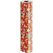 JAM Paper® Industrial Size Wrapping Paper Rolls, Starry Red, 1/2 Ream (834 Sq. Ft), Sold Individually (165J11524417)