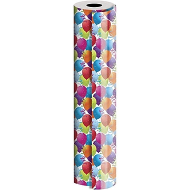 JAM Paper® Industrial Size Wrapping Paper Rolls, Colourful Balloons, 30