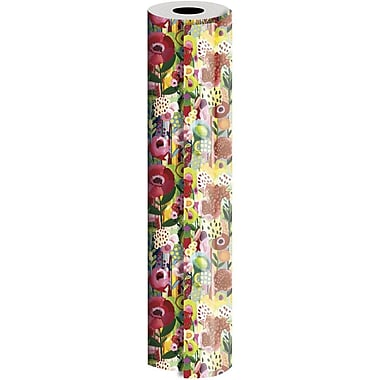 JAM Paper® Industrial Size Wrapping Paper Rolls, Floral Collage, 30