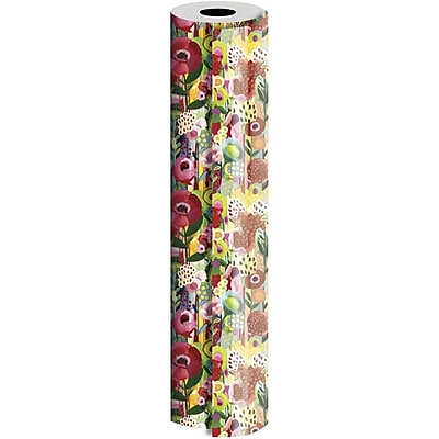 JAM Paper® Industrial Size Wrapping Paper Rolls, Floral Collage, 1/2 Ream (1042.5 Sq. Ft), Sold Individually (165J14030417)