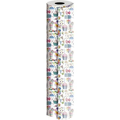 JAM Paper® Industrial Size Wrapping Paper Rolls, Birthday Party, 1/2 Ream (834 Sq. Ft), Sold Individually (165J12724417)