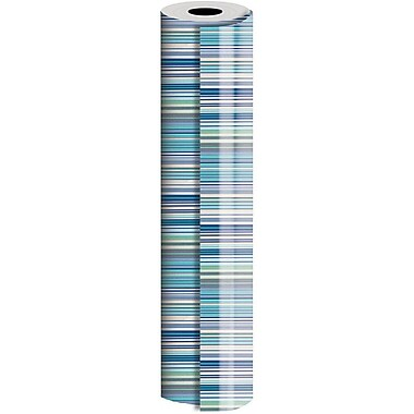 JAM Paper® Industrial Size Wrapping Paper Rolls, Bold Blue Stripe, 30