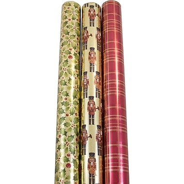 JAM Paper® Christmas Wrapping Paper, Fireside Christmas, 50 Sq. Ft, 3/pack (368533619)