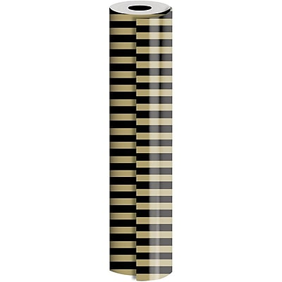 JAM Paper® Industrial Size Wrapping Paper Rolls, Black Gold Stripe, Full Ream (2082.5 Sq. Ft), Sold Individually (165J43730833)