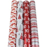 JAM Paper® Christmas Design Wrapping Paper - Cartoony Christmas - 180 Sq Ft. - 4/pack