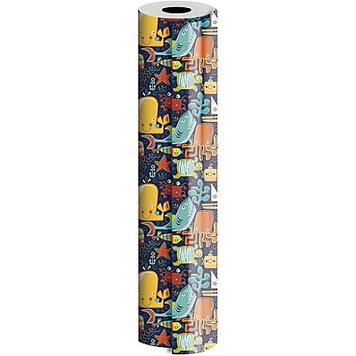 JAM Paper® Industrial Size Wrapping Paper Rolls, Ocean Friends, Full Ream (2082.5 Sq. Ft), Sold Individually (165J19230833)