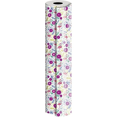 JAM Paper® Industrial Size Wrapping Paper Rolls, Flamingo, 1/2 Ream (834 Sq. Ft), Sold Individually (165J13224417)
