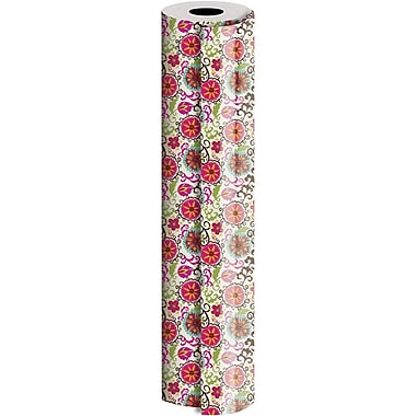 JAM Paper® Industrial Size Wrapping Paper Rolls, Happy Flower, 30
