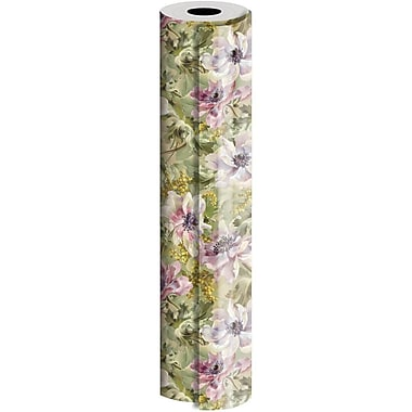 JAM Paper® Industrial Size Wrapping Paper Rolls, Painterly Flowers, 30