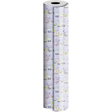 JAM Paper® Industrial Size Wrapping Paper Rolls, Baby Train, 24