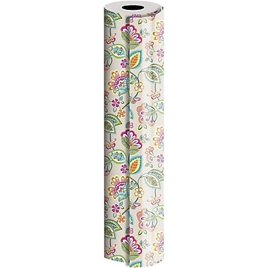 JAM Paper® Industrial Size Wrapping Paper Rolls, Deco Floral, 1/2 Ream (834 Sq. Ft), Sold Individually (165J24324417)