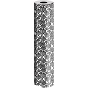 JAM Paper® Industrial Size Wrapping Paper Rolls, Black Damask, 1/4 Ream (416 Sq. Ft), Sold Individually (165J41824208)