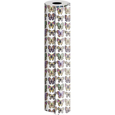 JAM Paper® Industrial Size Wrapping Paper Rolls, Flutter Butterflies, 1/4 Ream (416 Sq. Ft), Sold Individually (165J18024208)