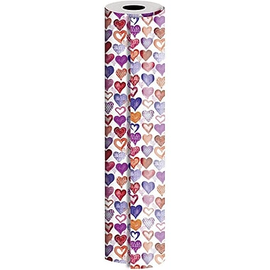 JAM Paper® Industrial Size Wrapping Paper Rolls, Lovely Lovely Hearts, 1/2 Ream (1042.5 Sq. Ft), Single Roll (165J45430417)