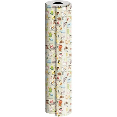 JAM Paper® Industrial Size Wrapping Paper Rolls, Alphabet Animals, 1/2 Ream (834 Sq. Ft), Sold Individually (165J30924417)