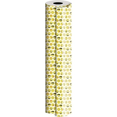 JAM Paper® Industrial Size Wrapping Paper Rolls, Emojis, 1/4 Ream (416 Sq. Ft), Sold Individually (165J12424208)