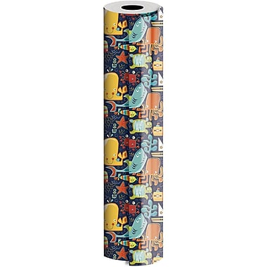 JAM Paper® Industrial Size Wrapping Paper Rolls, Ocean Friends, 24