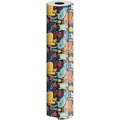 JAM Paper® Industrial Size Wrapping Paper Rolls, Ocean Friends, 1/4 Ream (416 Sq. Ft), Sold Individually (165J19224208)