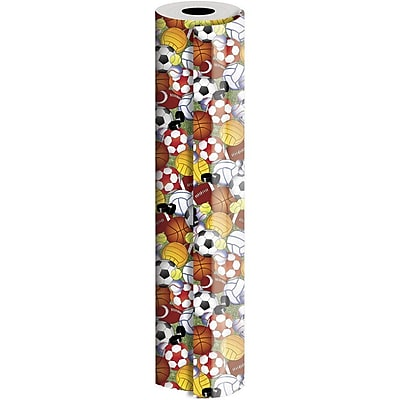 JAM Paper® Industrial Size Wrapping Paper Rolls, Play Ball, 1/4 Ream (520 Sq. Ft), Sold Individually (165J36630208)