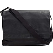 Kenneth Cole Faux Leather Casual Messenger Bag, Black (539315)