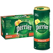 Perrier Slim Cans Carbonated Mineral Water, Peach, 8.45 Fl oz., 10/Pack (12350540)