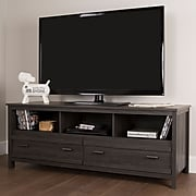 South Shore Exhibit Laminated Particleboard TV Stand for TVs up to 60'', Gray Oak, (10393)