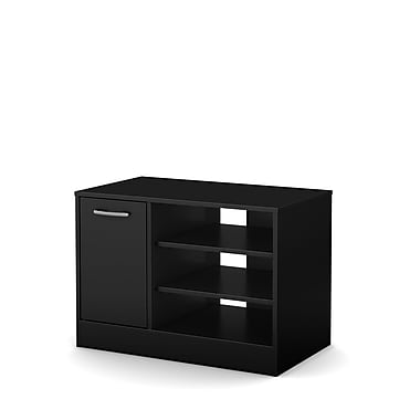 South Shore Axess Laminated Particleboard TV Stand for TVs up to 42'' with Storage, Pure Black, (10407)
