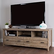 South Shore Exhibit Laminated Particleboard TV Stand for TVs up to 60'', Weathered Oak, (10394)