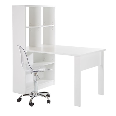 South Shore Annexe Work Table and Storage Unit Combo with Clear Office Chair, Pure White (100077)