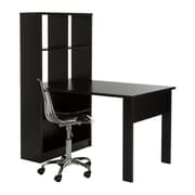 South Shore Annexe Work Table and Storage Unit Combo with Clear Office Chair, Pure Black (100078)