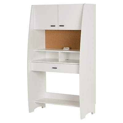 South Shore Reevo Desk with Hutch and Storage, Pure White (10196)