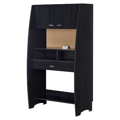 South Shore Reevo Desk with Hutch and Storage, Black Onyx (10197)