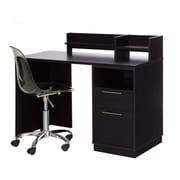 South Shore Academic Desk with Clear Office Chair, Black Oak (100076)