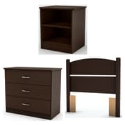 South Shore Libra Twin Laminated Particleboard 3-Piece Bedroom Set, Chocolate (3159223)