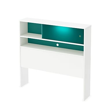 South Shore Little Monsters Twin Laminated Particleboard Headboard Bookcase 39.5''W, White (9017098)