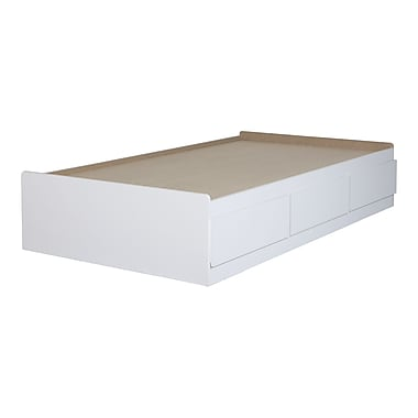 South Shore Twin Mates Bed with 3 Drawers, Pure White (10574)