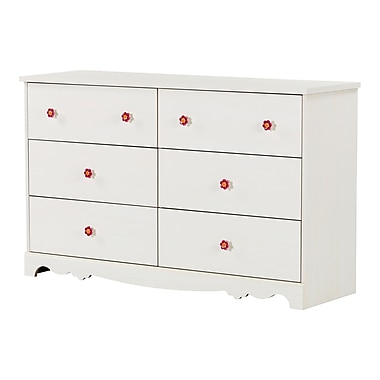 South Shore Lily Rose Laminated Particleboard 6-Drawer Double Dresser, White Wash (10078)
