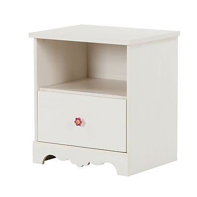 South Shore Lily Rose Laminated Particleboard 1-Drawer Nightstand, White Wash (10076)