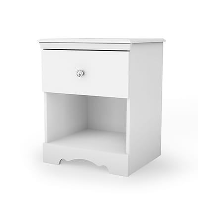 South Shore Crystal Laminated Particleboard 1-Drawer Nightstand, Pure White (3550062)