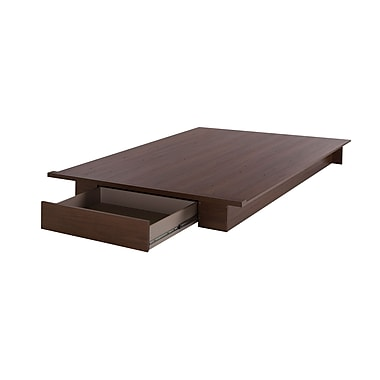 South Shore Primo Full/Queen Platform Bed with Drawer, Brown Walnut (10336)