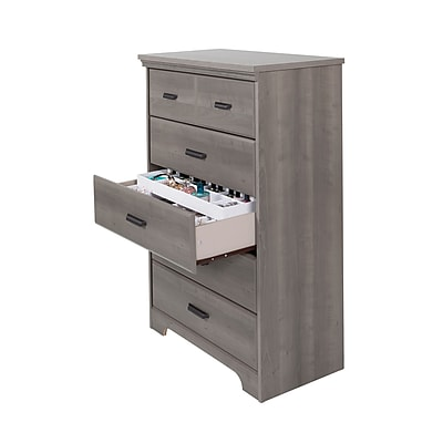 South Shore Versa Laminated Particleboard Gray Maple 5-Drawer Chest with Jewelry Organizers Set (100135)