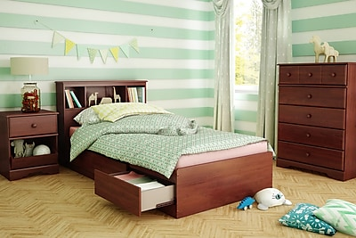 South Shore Little Treasures Twin Mates Bed with Drawers and Bookcase Headboard 39