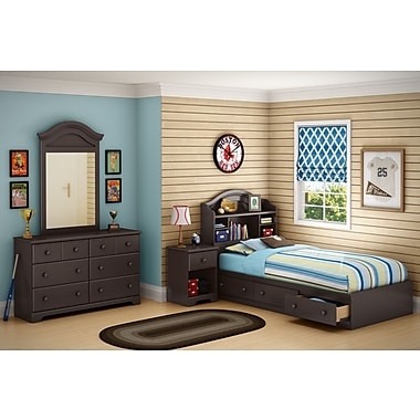 South Shore Summer Breeze Twin Mates Bed with Drawers and Bookcase Headboard 39