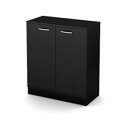 South Shore Axess 2-Door Storage Cabinet, Pure Black, (10179)
