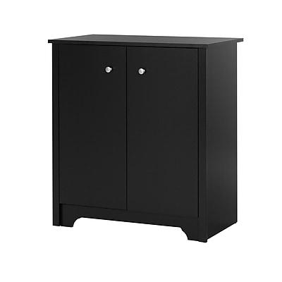 South Shore Vito Small 2-Door Storage Cabinet, Pure Black, (10329)