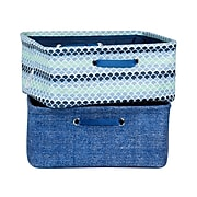 South Shore Storit Blue Scales and Chambray Nightstand Baskets with Chambray and Scales Pattern, 2-Pack, (100057)