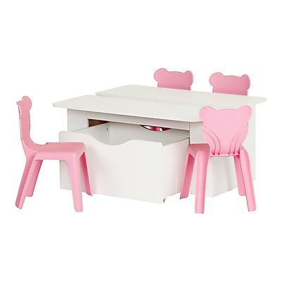 South Shore Crea 39.4'' Rectangular Laminated Kids White Activity Table and 4 Pink Plastic Chairs Set, (100203) 24134258