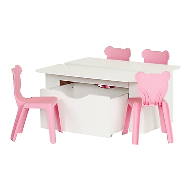 South Shore Crea 39.4'' Rectangular Laminated Kids White Activity Table and 4 Pink Plastic Chairs Set, (100203)
